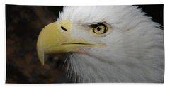 Beach Sheet featuring the digital art American Bald Eagle Portrait 2 by Ernie Echols