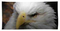 American Bald Eagle Portrait 3 Beach Towel by Ernie Echols