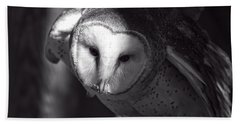 American Barn Owl Monochrome Beach Towel