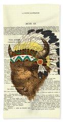 American Bison - Buffalo With Indian Headdress Beach Towel