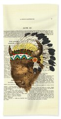 American Bison - Buffalo With Indian Headdress Beach Towel