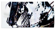 American Black And White Paint  Beach Towel by Cheryl Poland