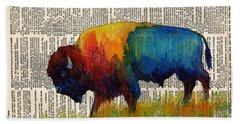 American Buffalo IIi On Vintage Dictionary Beach Towel by Hailey E Herrera