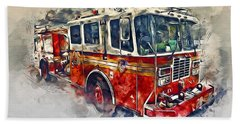 American Fire Truck Beach Towel
