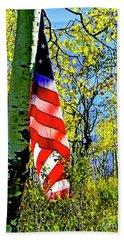American Flag A Veteran Hunters Homage Beach Towel