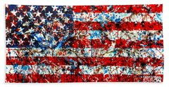 Beach Sheet featuring the painting American Flag Abstract With Trees by Genevieve Esson