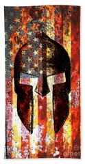 American Flag And Spartan Helmet On Rusted Metal Door - Molon Labe Beach Towel