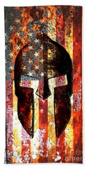 American Flag And Spartan Helmet On Rusted Metal Door - Molon Labe Beach Towel by M L C