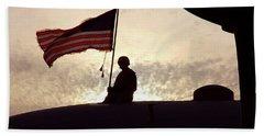 American Flag Atop An Aircraft Beach Sheet