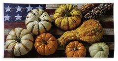 American Flag Autumn Harvest Beach Towel
