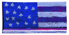 American Flag Bench Beach Towel
