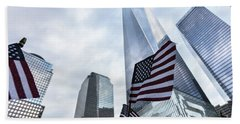 American Flag In Front Of The One World World Trade Center Beach Towel
