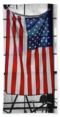 Beach Towel featuring the photograph American Flag In The Window by Mike McGlothlen