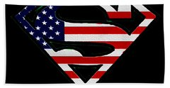 American Flag Superman Shield Beach Towel