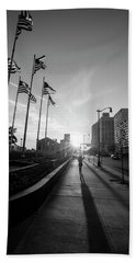 American Flags Detroit Black And White  Beach Towel
