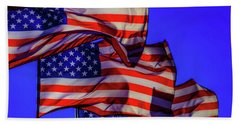 American Flags Waving Beach Towel