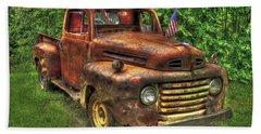 American Ford 1950 F-1 Ford Pickup Truck Art Beach Towel