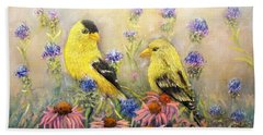 American Goldfinch Pair Beach Sheet