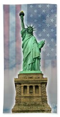 Beach Towel featuring the digital art American Liberty by Timothy Lowry