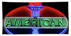 Beach Towel featuring the photograph American Oil Sign by Sandy Keeton