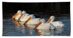 American Pelicans - 01 Beach Towel by Rob Graham