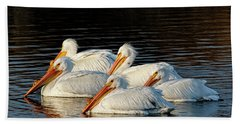 American Pelicans - 03 Beach Towel by Rob Graham