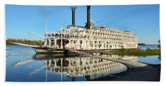 American Queen Steamboat Reflections On The Mississippi River Beach Sheet by David Lawson