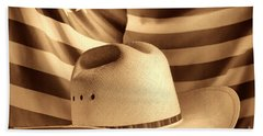 American Rodeo Cowboy Hat Beach Sheet