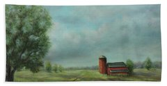Beach Towel featuring the painting American Scene Red Barn  by Katalin Luczay