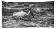 American White Ibis In Black And White Beach Towel by Chrystal Mimbs