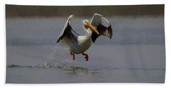 American White Pelican Da 2 Beach Sheet by Ernie Echols