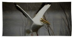American White Pelican Da Square Beach Sheet by Ernie Echols