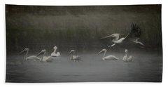 American White Pelicans Da Beach Towel by Ernie Echols