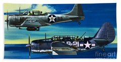 American Ww2 Planes Douglas Sbd1 Dauntless And Curtiss Sb2c1 Helldiver Beach Towel
