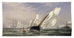 American Yacht Sappho Winning The Race With The English Yacht Livonia For The Americas Cup Beach Towel