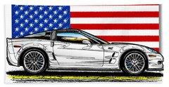 America's Old Glory 2013 Zr1 Corvette Beach Towel
