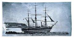 Amerigo Vespucci Sailboat In Blue Beach Towel by Pedro Cardona
