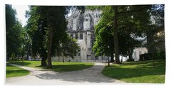 Amiens Cathedral - Park View Beach Towel by Therese Alcorn