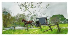 Amish Buggy Along Ronks Road Beach Towel