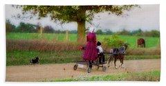 Amish Kids On Pony Cart Beach Towel
