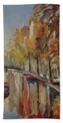 Amsterdam Autumn With Boat Beach Towel