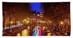 Beach Towel featuring the photograph Amsterdam By Night by Barry O Carroll