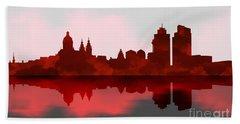 Amsterdam Skyline - Night Red Beach Towel