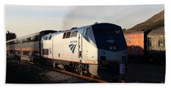 Amtrak Trains At The Niles Canyon Railway In Historic Niles District California . 7d10856 Beach Towel