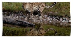 Amur Leopard Reflection Beach Towel