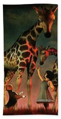 Amy And Buddy With The Giraffes Beach Towel