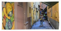 Beach Towel featuring the photograph An Alley In Nice by Allen Sheffield