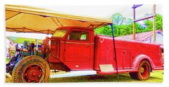 An Antique Fire Department Vehicle On Display 1 Beach Towel by Lanjee Chee