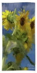 Beach Towel featuring the photograph An Impression Of Sunflowers In The Sun by Lois Bryan