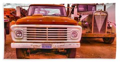 Beach Towel featuring the photograph An Old Ford And Kenworth by Jeff Swan